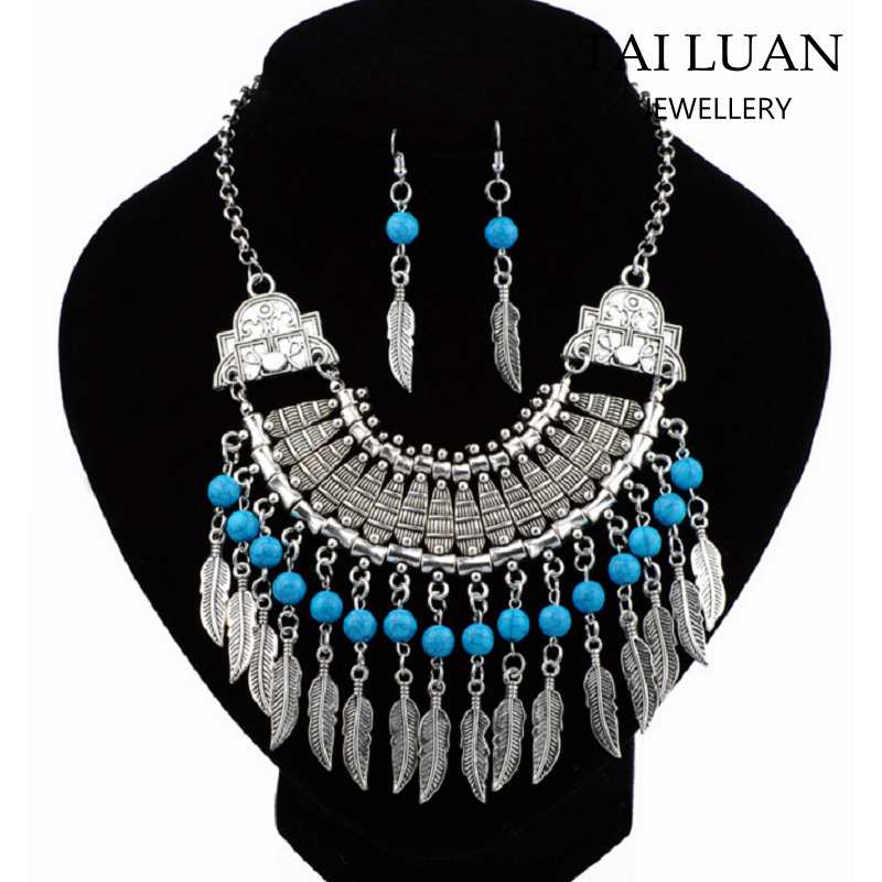Wholesale turquoise leaf tassel tribal necklace jewelry ethnic jewellery
