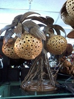 Table Lamp made of Coconut fruits and tree 1 made in Thailand