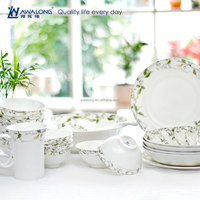 28pcs Leaf Painting Complete High Quality Fine China Colorful Dinnerware Sets
