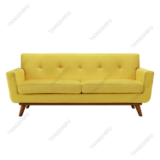 Living room italian two seat yellow chesterfield upholstery fabric sofa