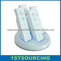 For wii Quad Remote Controller Charger with 4 Rechargeable Battery