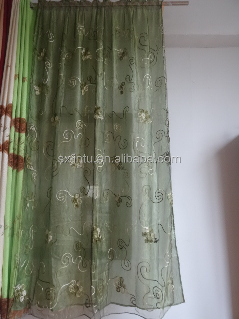 stock lot ready made embroidered sheer curtains