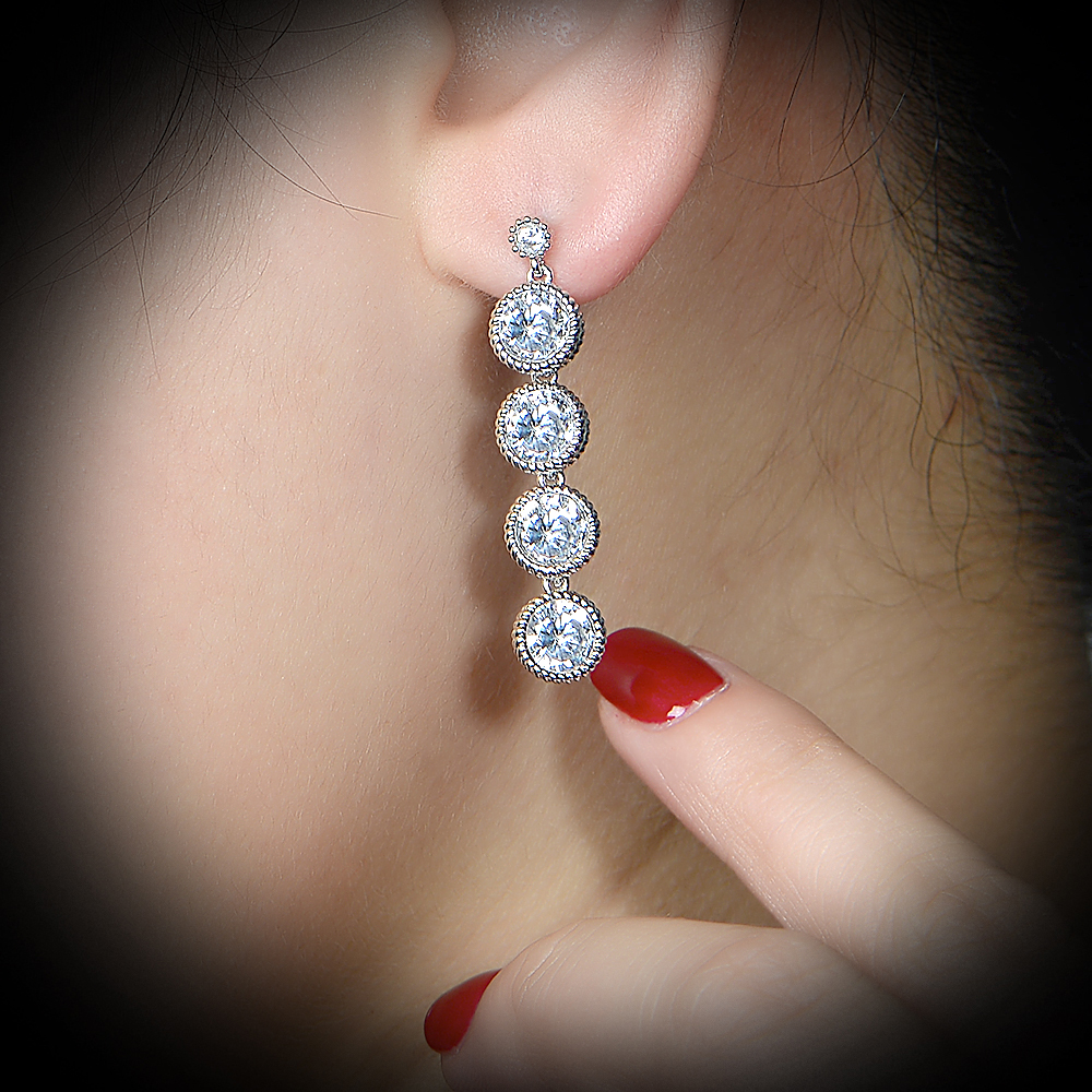 big crystal inlaid pave zircon setting long earring dangler