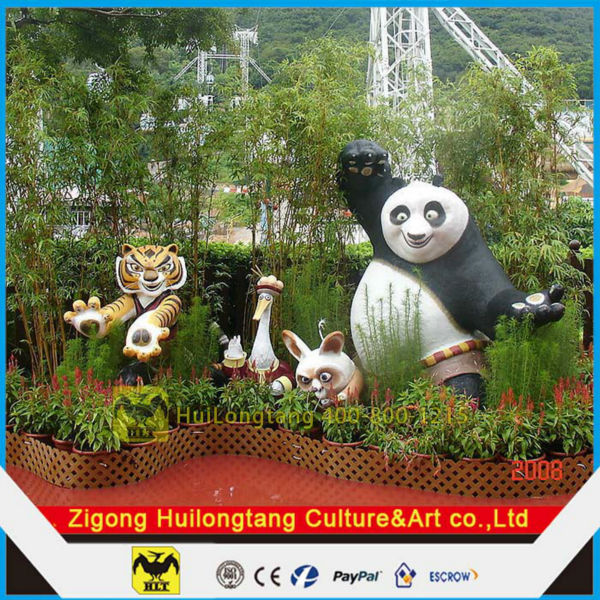HLT Fiberglass Cartoon Panda movies Panda Figure Statue