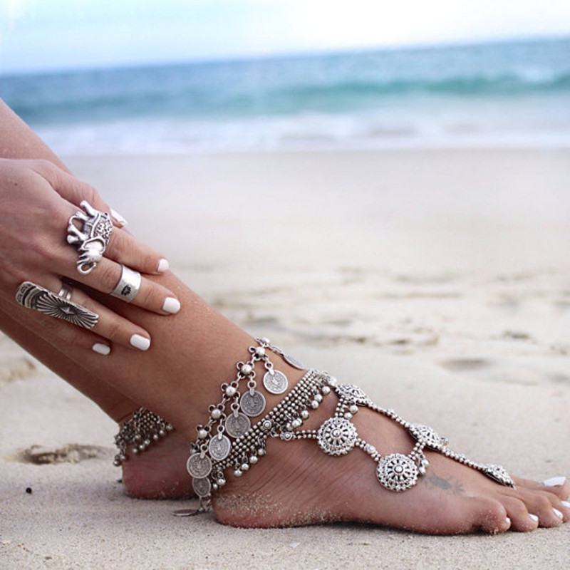 Retro style metal coin anklet