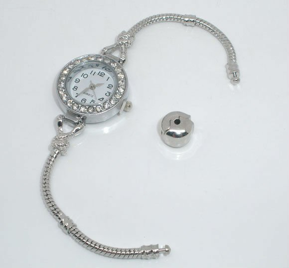 Rhinestone Watch W/Snap Clasp Fit European Beads 18cm