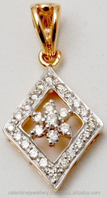 18k yellow gold diamond pendant exporter, Modern round cut diamond jewelry, Affordable kite shaped gold pendant wholesale