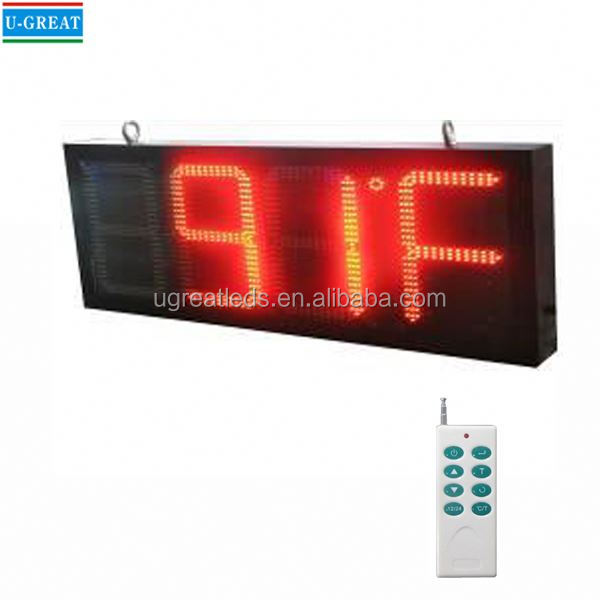New product semi-outdoor 12 inch RF control led time & temperature sign