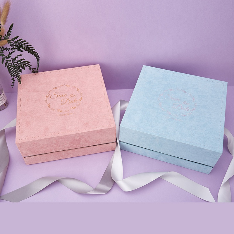 27x27x12cm lid and base style pink blue rigid paper box packaging boxes medium box packaging with ribbon bowtie
