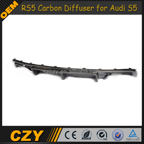 RS5 Style Styling Carbon Fiber Rear Bumper Lip for Audi S5 8T 12up