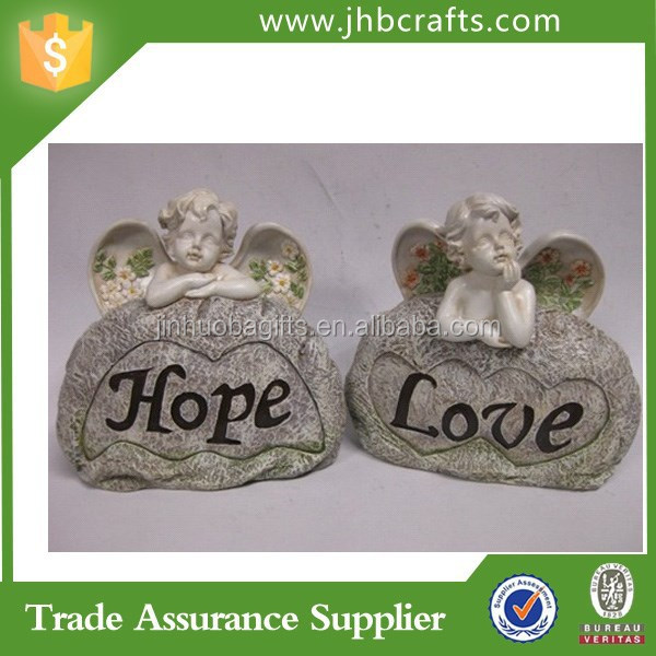 Wholesale Resin Angels Garden Decoration With Sign