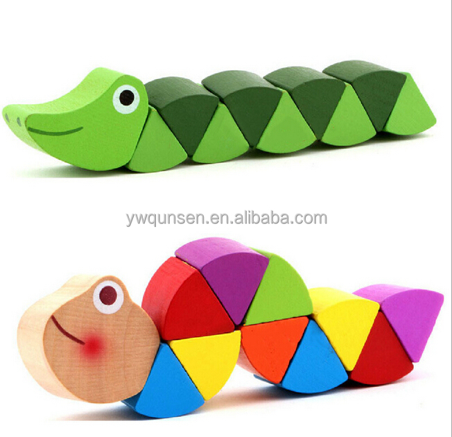 mini caterpillar educational wood toy for kids