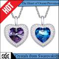 China crystals from Swarovski jewlery factory wholesale 925 sterling silver fashion 2017 love heart crystal pendant necklace
