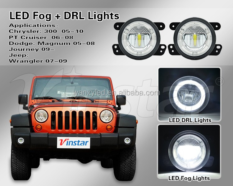 2PC 2 in1 dual Fog/DRL beams white led drl assembles fog lamp for jeep wrangler