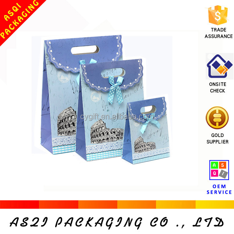 hot sale customized die- cut handles bowknots printed paper bag for birthday gift