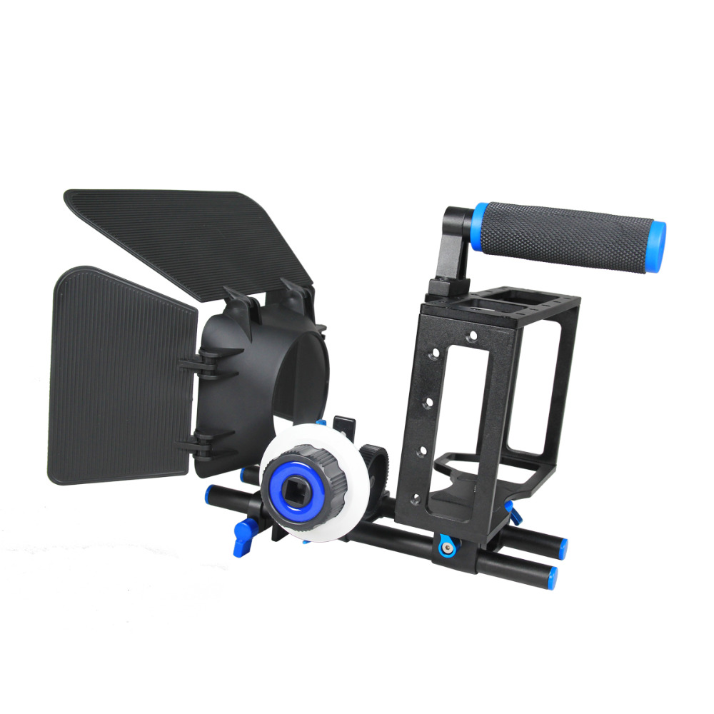 YELANGU Portable DSLR Mini <strong>Camera</strong> Cage Shoulder Mount Rig Kit <strong>C100</strong> Contain Follow Focus Matte Box Support Universal Cameras