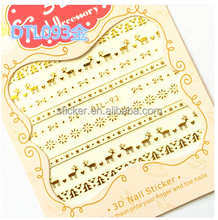 French glitter flash metallic nail polish tattoo stickers