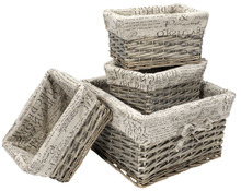 gray willow basket with fashionable liner wicker hampers set