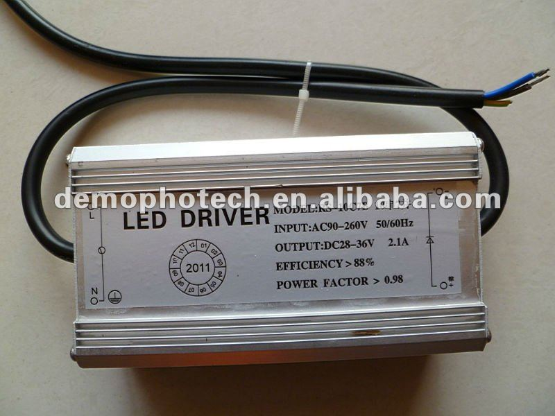Waterproof Constant Current LED Driver 70W 2100mA