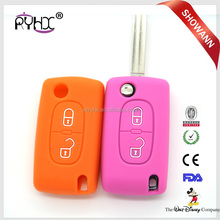 Silicone car key case for Peugeot 208 207 308 2 Buttons car remote flip key cover With logo