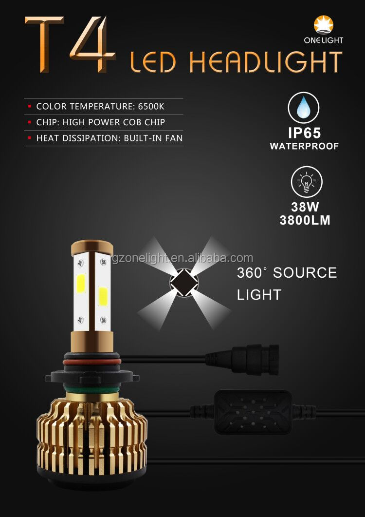 High power 360 degree led replacement bulbs T4 38w 3800lm car accessories led hid bulbs