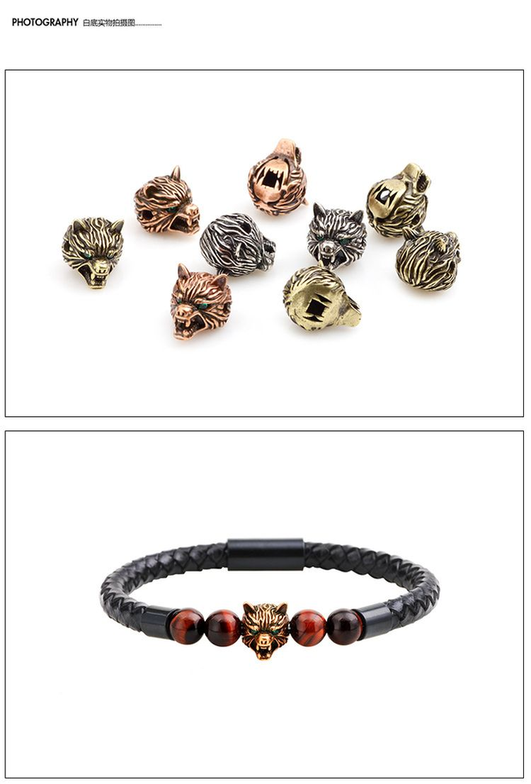 New Fashion Men Natural Stone Animal Head Bead Magnetic Buckle Leather Bracelet