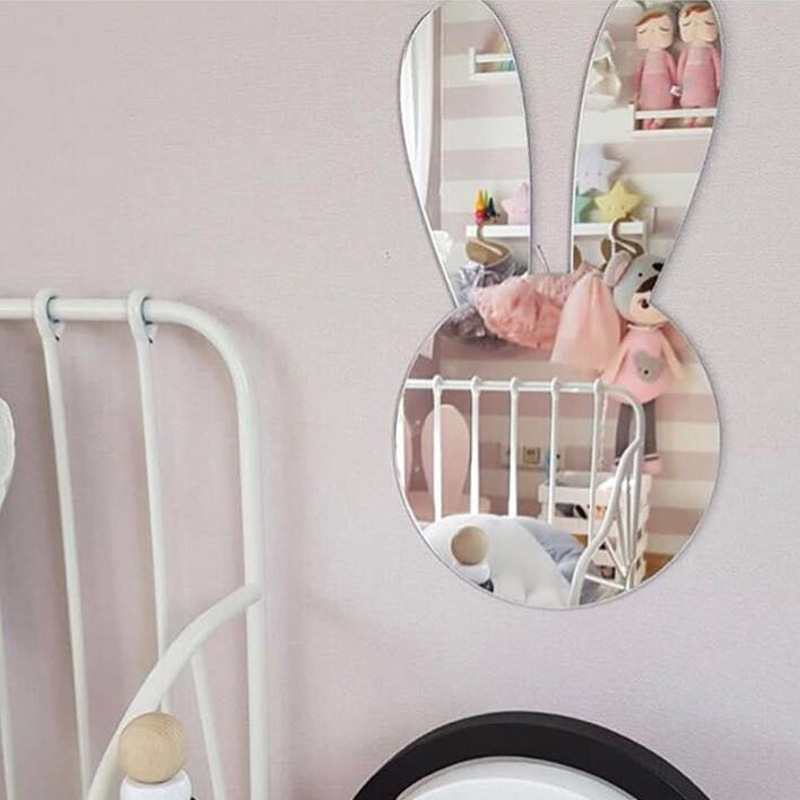 Cute Rabbit Acrylic Crystal Mirror Decal Art 3D Wall Sticker Home Decoration