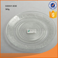 hot selling D20cm clear round exquisite glass plate