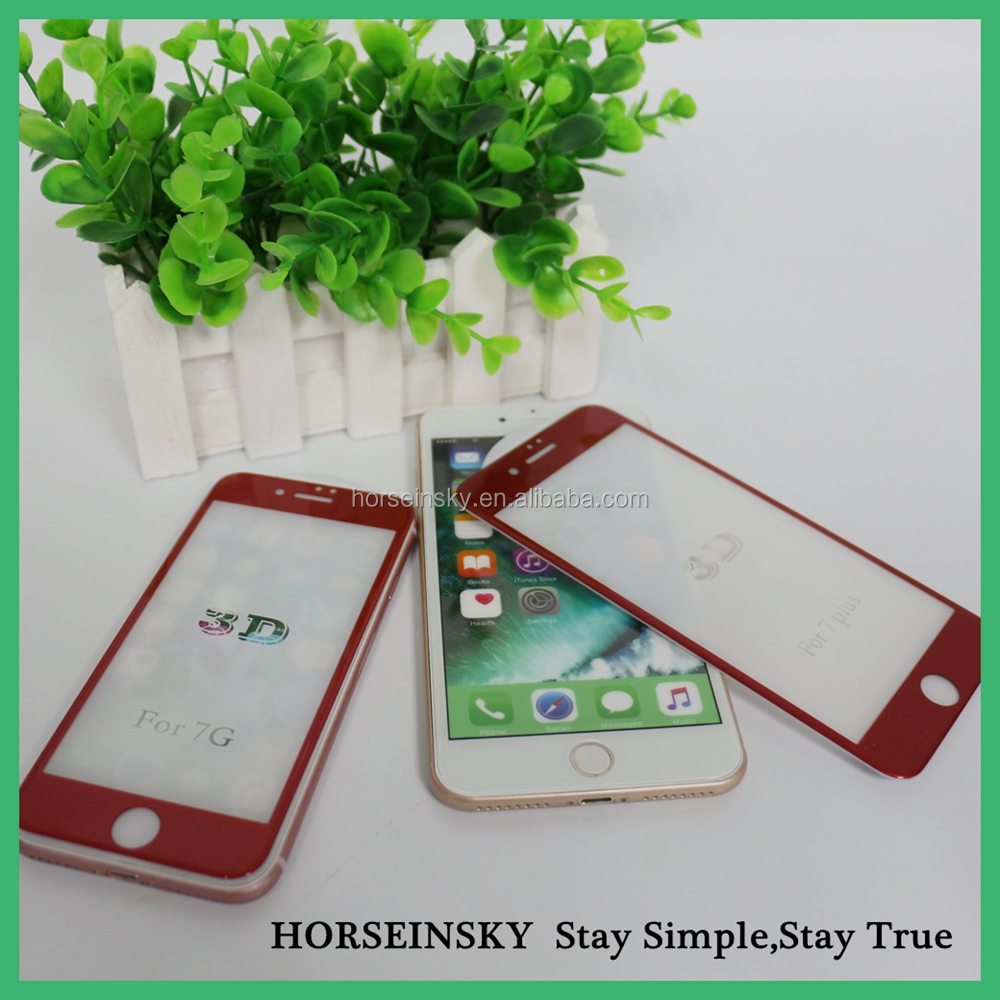 Customized Chinese Red Glass Tempered Screen Protector for iphone 7 and 7 plus