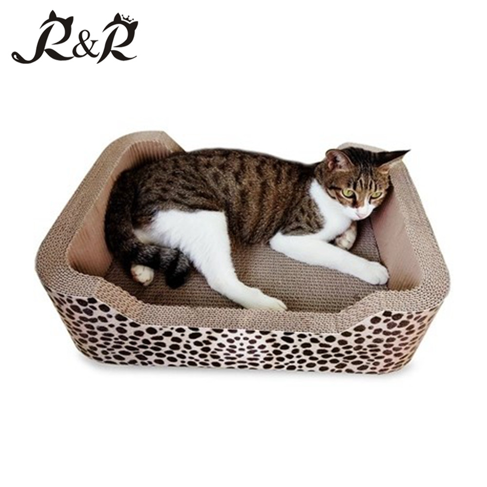 Hot Selling Wholesale Cardboard Cat Scratcher Bed Corrugated Cat Scratching House with Catnip RCS-8003