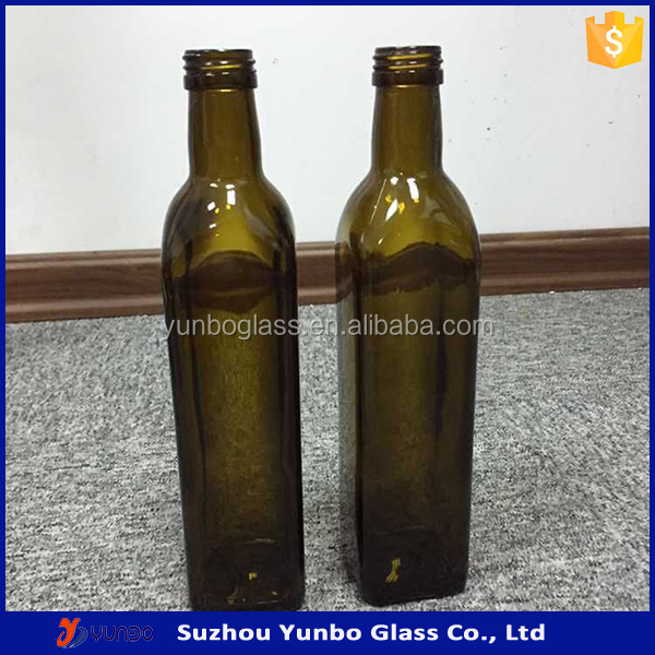 High Quality Dark Green Square 500 ml Glass Bottle for Olive Oil