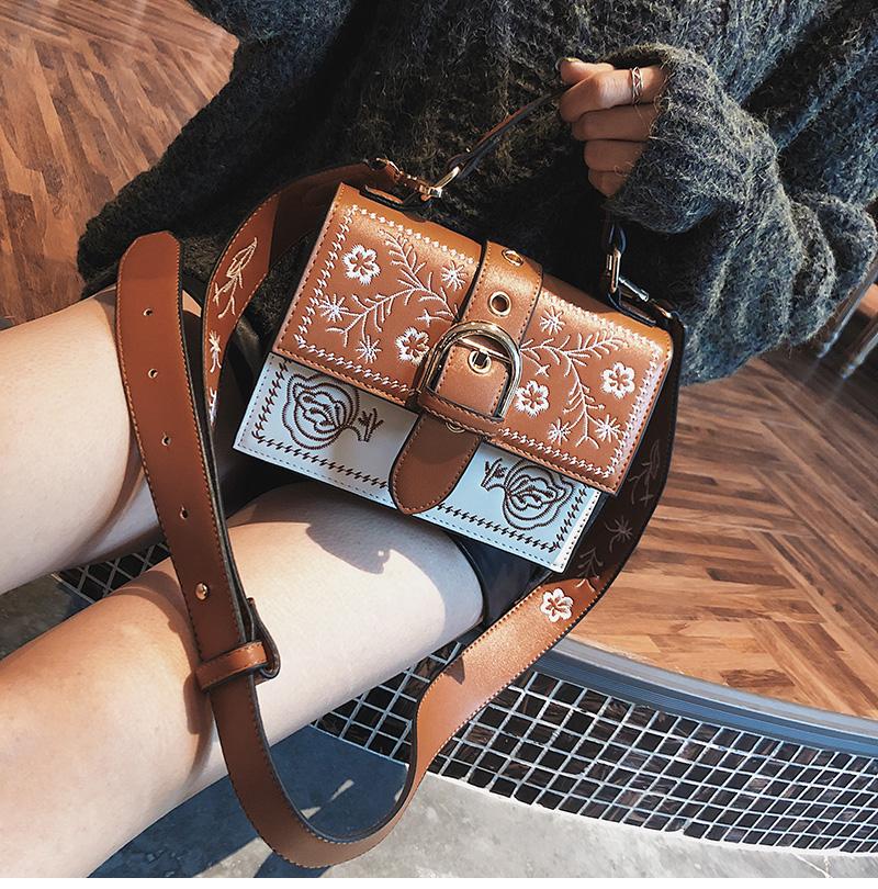 Toposhine Fashion Women Bag Panelled Vintage Flower Girls Bags for Girls Black PU Leather Women Messenger Bags Drop Shipping 8
