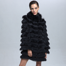 Latest Arrival Simple Design Winter Fox Fur Women Coat with Cheap Price