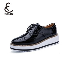 Women Platform Oxfords Brogue Flats Shoes Lace Up Pointed Toe Female Footwear Shoes for women non branded wholesale shoes