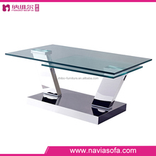 Living room furniture cheap price stainless steel legs double templed glass coffee table