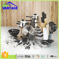 Hot selling korean 80pcs cookware set stainless steel kitchenware with frying pans and pot