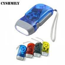 Wholesale outdoor 3 led hand pressing flashlight dynamo hand crank flashlight