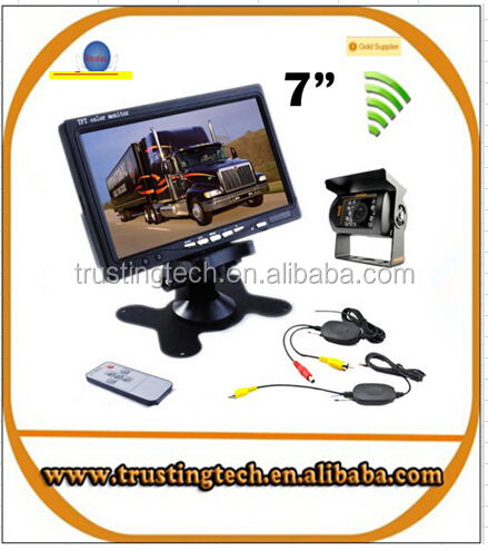 "wireless truck vehicle car rear view camera IR night vision waterproof backup Kit 7"" TFT LCD monitor high solution 420 TVL"