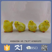 Small cute resin rooster with fur figurine for souvenirs