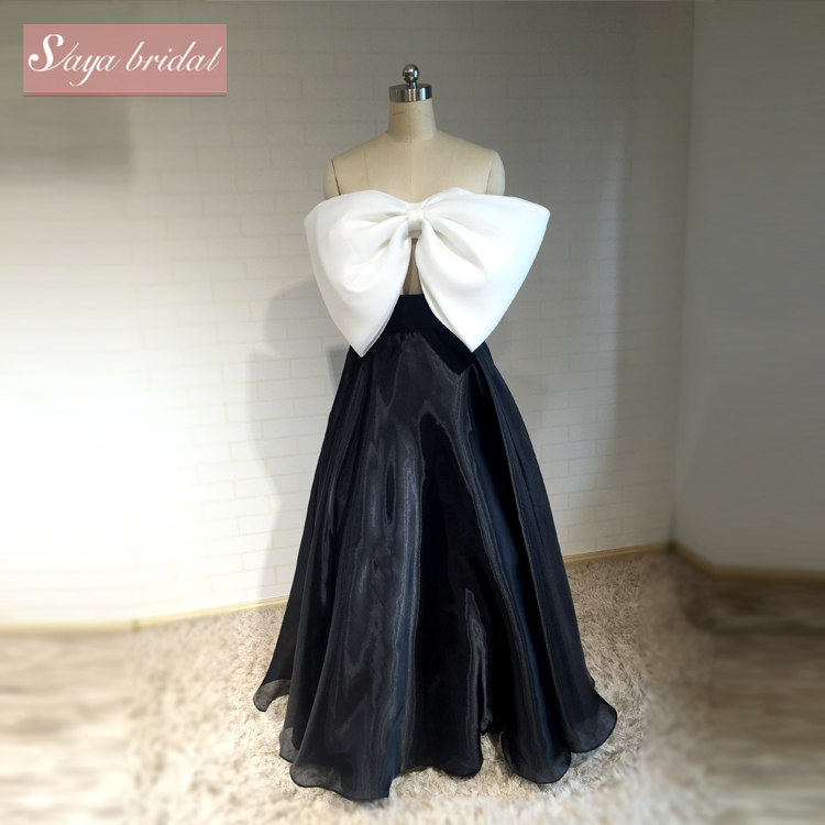 saya bridal 2018 new evening dress Black and white bow two pieces satin floor sleeveless