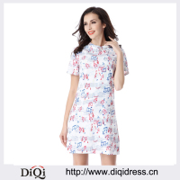 Women Elegant Color Music Notes Print Dress Summer Casual Fashion Wear to Work Business Party Mini Dresses