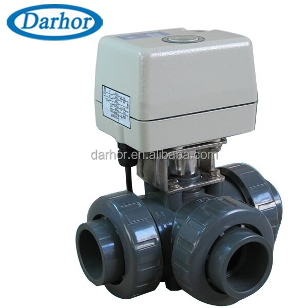 3 way electric actuated 2 inch 4 inch pvc ball valve