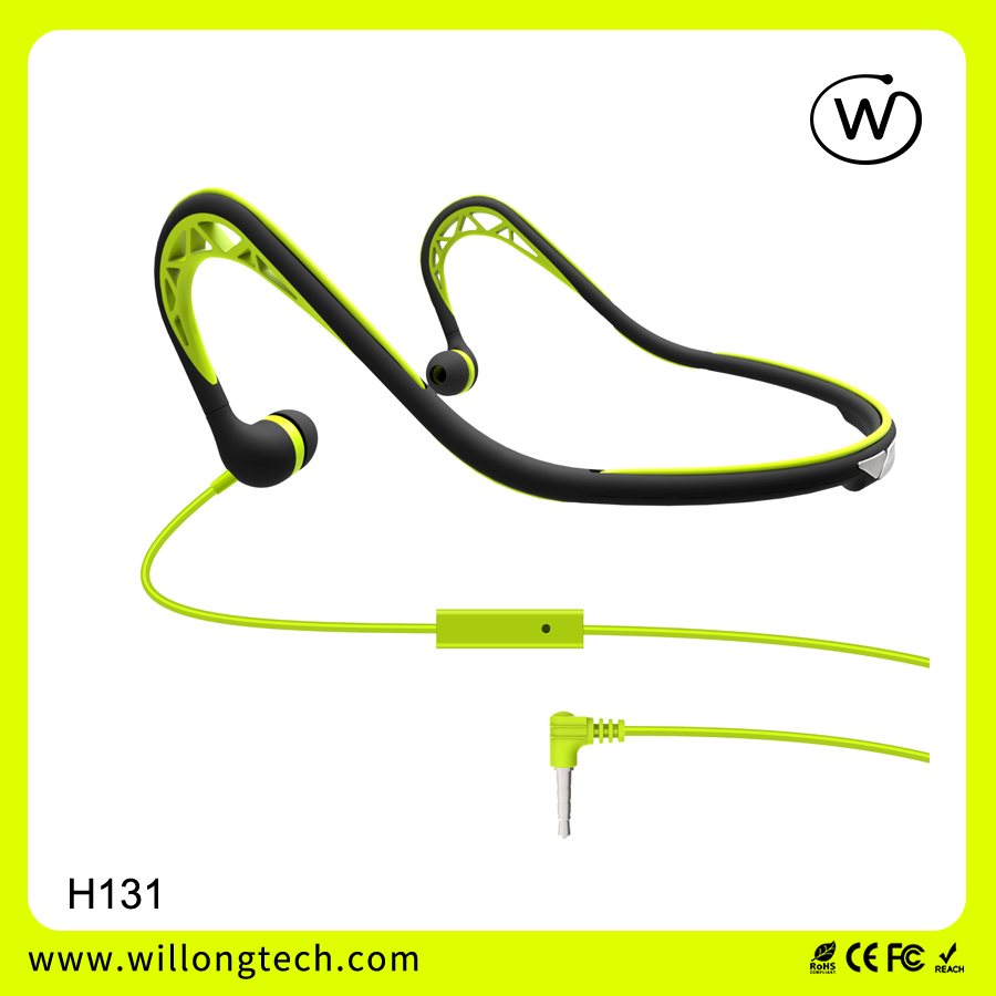 Flexible mp3 headset sports earphone long wire with mic