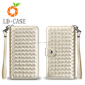 Woven design leather mobile cell phone case manufacturing