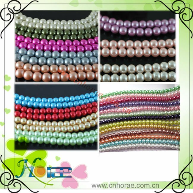 wholesale decorative high quality colorful glass pearl beads strands