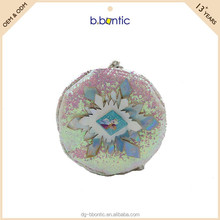 Fancy flower shaped reversible sequin coin purse