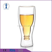 Hand made 2016 new product customized Borosilicate double wall beer glass