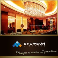 Oval glass drop central decoration crystal ceiling lamp for meeting room