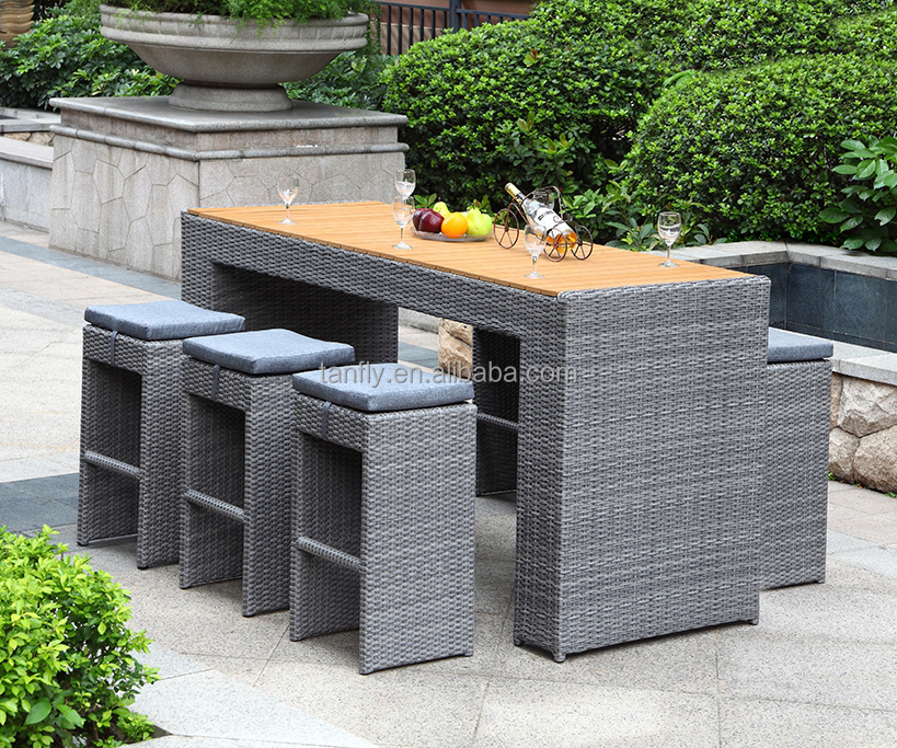 Wicker Poly Rattan Patio Furniture Garden Contemporary Bar Stools and Tables