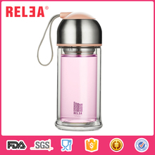 RELEA 10oz Borosilicate Double Layer Wide Mouth Glass Crystal Carafe Juice Drinking Water Bottle with filter